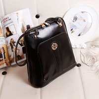 New 2013 cowhide backpack genuine leather cross-body women's handbag star style casual all-match black backpack  Free shipping