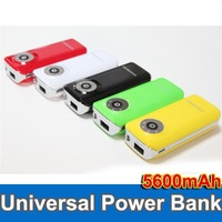 50pcs Portable 5600mAh External Battery Charger Power Bank LED for iPhone/Samsung /HTC Free shipping