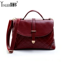 New 2013 preppy style vintage bag plaid women's handbag one shoulder cross-body messenger bag cowhide female bags  Free shipping