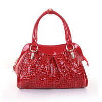 Fashion fashion 2013 shoulder bag red cowhide crocodile pattern paillette bags japanned leather women's handbag bridal bag