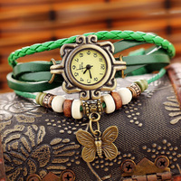 DHL free shipping Wholesale Cow Leather Watches!NB002 Ladies vintage Butterfly pendant weave watch for women free shipping