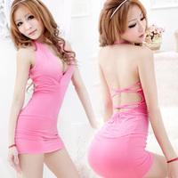 Ds sexy tight-fitting hip slim one-piece dress deep V-neck miniskirt princess clothes slim