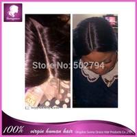 Long middle parting Malaysian Virgin Human Hair Lace Frontal 13*4