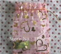 Free shipping!!500pc/lot  Pink peach heart hot stamping yarn bag 9*12cm.