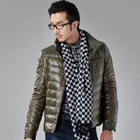 Men's clothing 2013 down coat winter thin patchwork design solid color short down coat outerwear