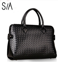 2014 women's genuine leather handbag fashion cowhide briefcase women knitted handbags brand shoulder work bag messenger totes