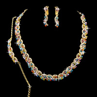 2013 New Evening Party Accessories For Women,Bridesmaids Wedding Rhinestone Necklace Earrings Bracelets & Bangles Jewelry Sets