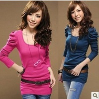 2013 Fashion Women Puff  Temperament Slim Long-sleeved cotton T-shirt bottoming shirt models wild Free Shipping