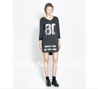 top for women fashion 2013 autumn winter number letter print cotton tshirt color grey long sleeve dress casual loose long tee