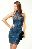 2014the new summer fashion Sleeveless lace dress sexy package hip nightclub dress Women's dress  ft953