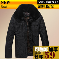 Plush liner thermal winter outerwear cotton-padded jacket cotton-padded jacket quinquagenarian wadded jacket male