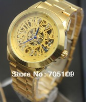 Luxury Mechanical Watch Mens Military Skeleton Hand Wind Steel Stainless Gold Clock Men Watch Top Quality