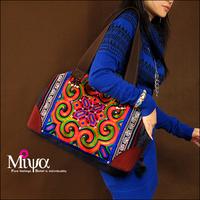 Original design high quality handmade chinese embroidery bag nubuck leather female denim bags shoulder bag the time