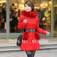 2013 thickening down coat women medium-long outerwear slim down coat free shipping
