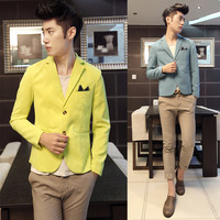 2013 autumn and winter buckle slim short design male suit