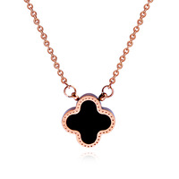 Fashion titanium chain short design female fashion double faced four leaf clover necklace sweater