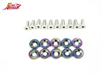 10 PCS Neo Gold Chrome Password JDM Aluminum Fender Washers For Honda Civic Integra RSX EK