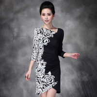 Gowns 2013 Hot Sale New Women's Fashion Spring Autumn Sheath Mini plus size Half Sleeve Solud Sexy Dress 411