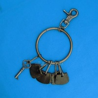 Dark Brown Leather Punk Gothic Hiphop Keyring Ring Key Chain holder Organizer