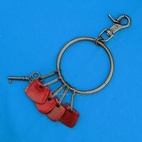 Leather Punk EMO Gothic Hiphop Men Keyring Ring Key Chain holder Organizer Red