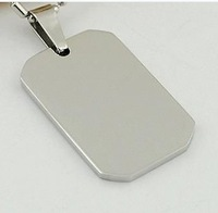 Boy and Men's  jewelry silver Simple Stainless Steel Dog tag Pendant Necklace free chain ,free ship