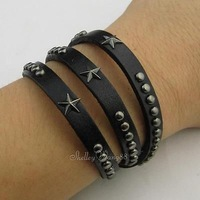 Black Adjustable Men Punk Cuff Belt Silver Star & Dots Buckle Leather Bracelet