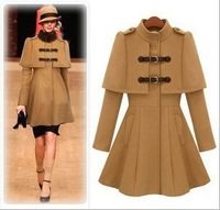 2013 European and American stations Hitz Slim collar coat cloak coat woolen coat 8108 Wholesale