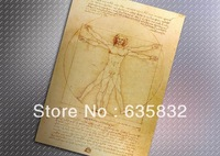 51*35cm Da Vinci Hand Painting Paper Poster Home Decor Bar POSTER Vintage Retro Collection 2pcs