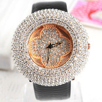 4 colors High Quality Leather Strap Women rhinestone watches for women dress watch Quartz watches 1pcs/lot