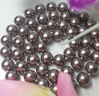 "Beautiful AAA+ 8mm gray shell pearl necklace 18"" MY2035"