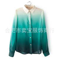 HOT SALE early 2014 spring women's clothing gradient straight lapel long-sleeved shirt, chiffon shirt