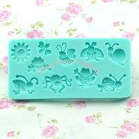 Free shipping 1 set many insects shape chocolate silicon mold fondant Cake decoration mold