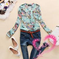 new 2014 v-neck blouse flower printed plus size roupas femininas blusas femininas 2014 chiffon shirt women