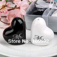 "100 pairs/lot free shipping by Fedex wedding gifts heart shaped ""Mr. & Mrs."" Ceramic Salt & Pepper Shakers favors"
