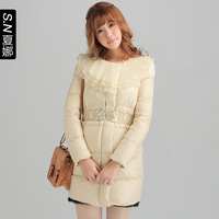 2013 multi-layer ruffle collar slim down coat 0622