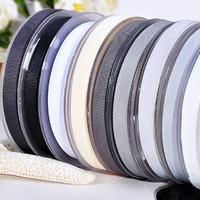 100 Yards 3/8'' White Black Series Solid Grosgrain Ribbon For Hair Bows Hair Clips Garment Accessories No. Y1