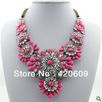 Free Shipping Fashion Rainbow Flower Necklace Punk Upscale Women Jewelly Choker Necklaces