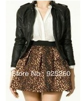 women mini skirt summer autumn winer fashion 2013 vintage european leopard print pleated cute ruffle short skirt