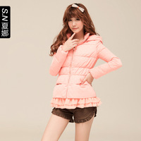 2013 thin down coat winter sweet slim with a hood slim short down coat 0329 design