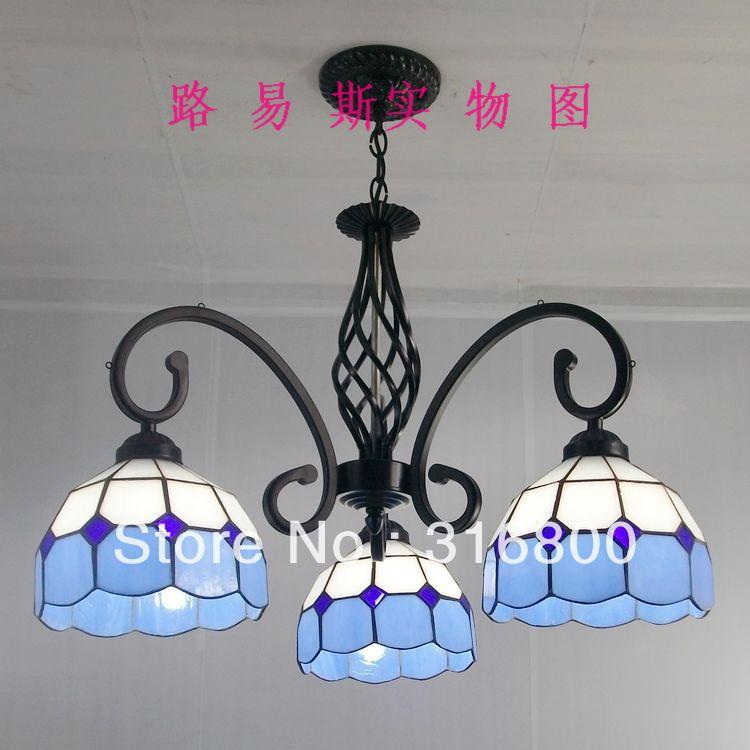 3 head-down restaurant minimalist chandelier wrought iron lamps bedroom Mediterranean Tiffany children study lighting shop(China (Mainland))