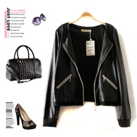 Fashion high quality women's back line serpentine pattern black zipper coat