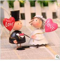 freeshipping 1pair/lot  Handicraft the bride and groom iron doll wedding decorative wholesale