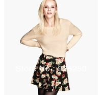 women mini skirt summer autumn winer fashion 2013 vintage european floral print pleated cute ruffle short skirt