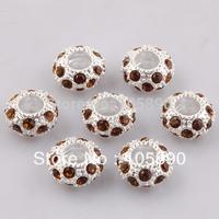 On sale !  Brown Crystal European Spacer Loose Charm Beads Fit Bracelet   PB299-10