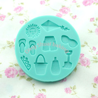 Free shipping 1 set  beach holiday shape chocolate silicon mold fondant Cake decoration mold