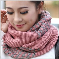 2013 winter women warm infinity knitted scarfs, Korea new fashion colorful ring scarf L-HM202