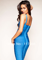 2013 new arrival sexy hollow out blue Bandage dresses fashion spaghetti stain short evening dress
