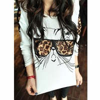 New Women Cute Leopard Glass Cat long sleeve autumn spring Shirt wholesale