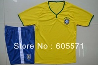 2014 brazil home soccer jerseys wholesales  soccer uniform shirts + shorts good quality free shipping