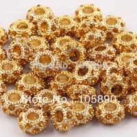 On sale ! Golden  Crystal Gold Spacer Loose Charm Beads Fit Bracelet   PB317-10